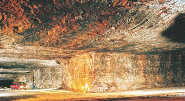 A photograph of a salt mine in Cheshire, England.  Salt is also pumped to the surface as brine in some mines